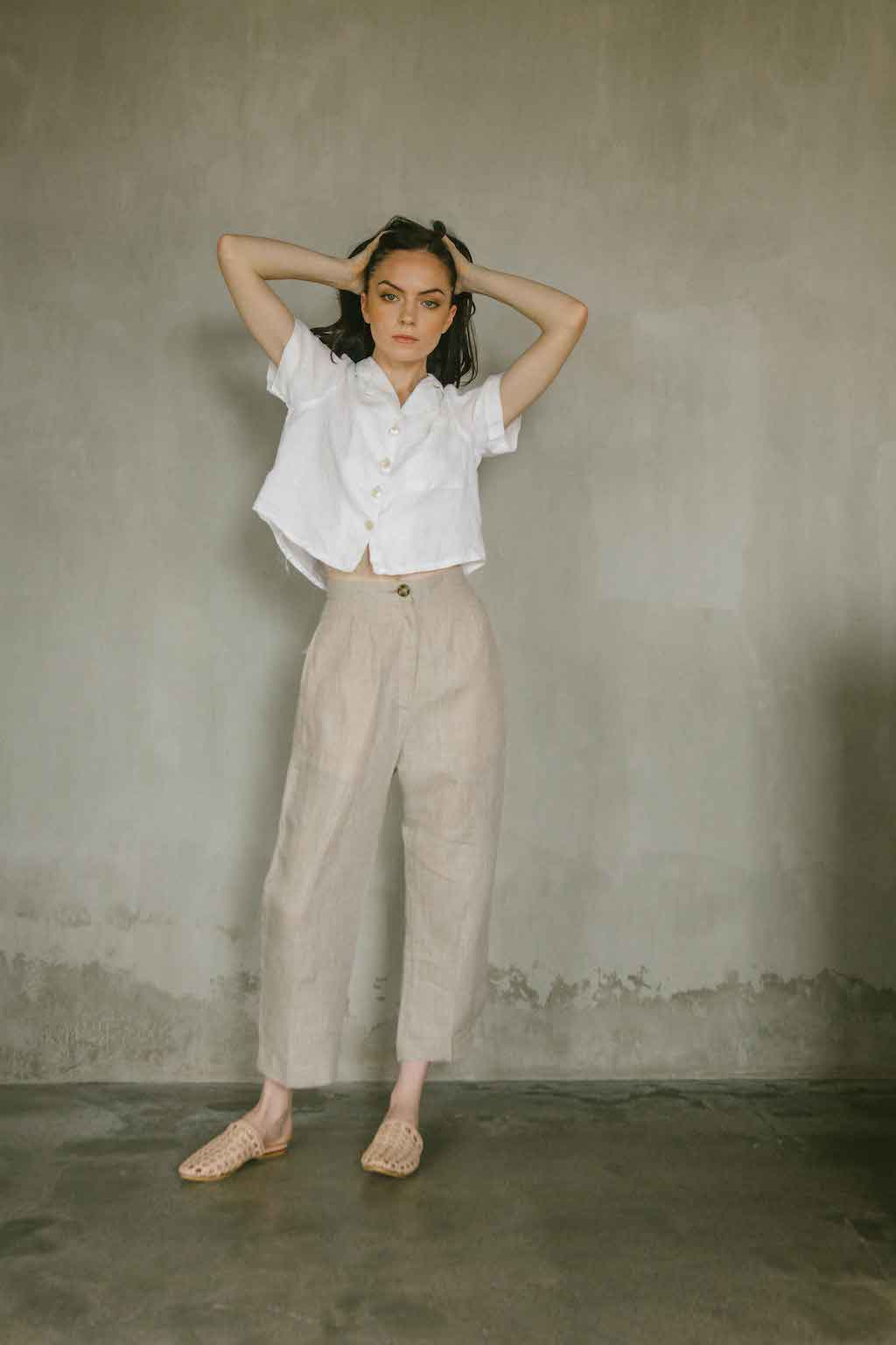 High-waisted, straight cut pants in natural color made from 100% Belgian flax linen