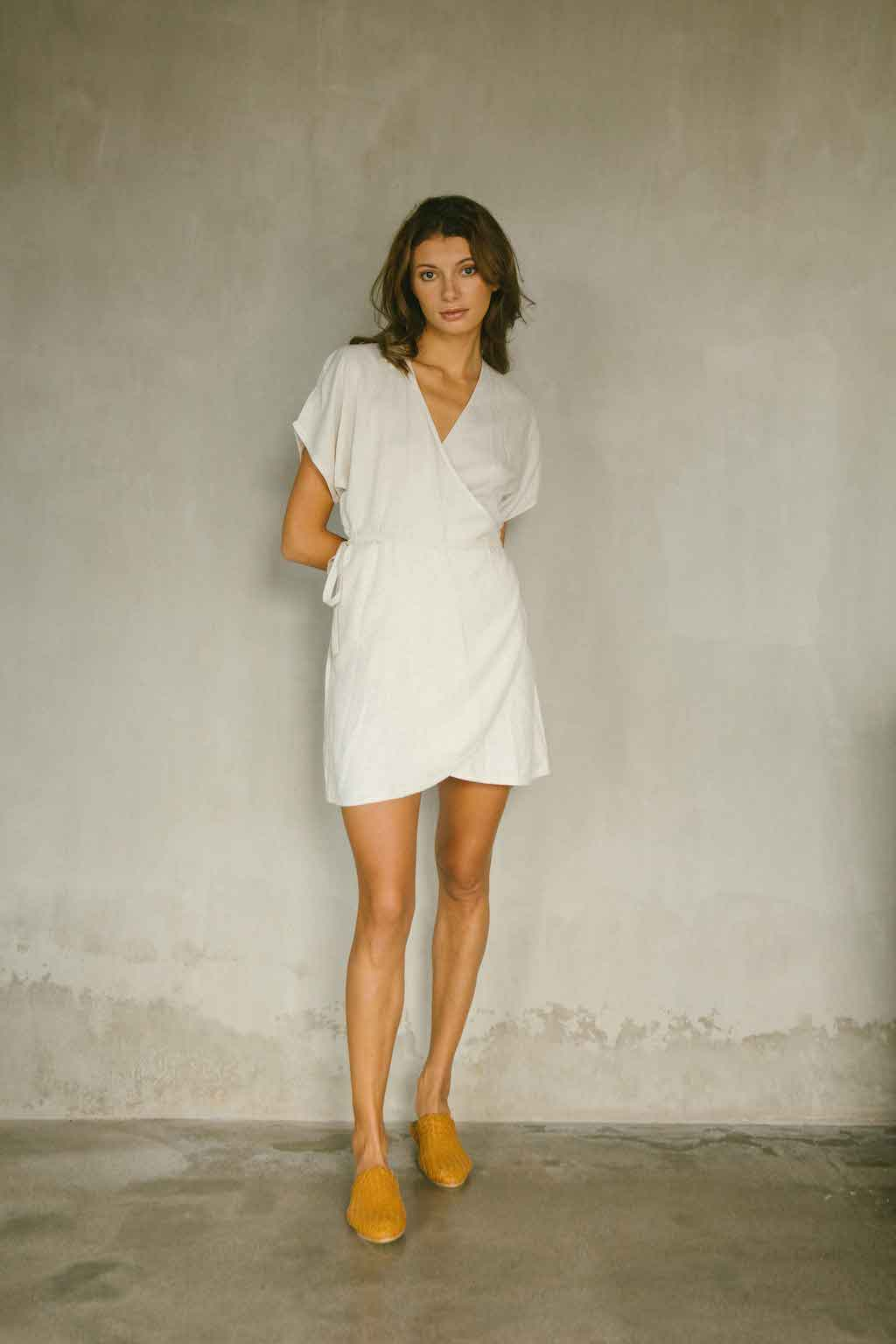 Wrap dress with V-neckline, made from linen rayon blend