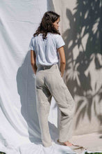 Load image into Gallery viewer, High waisted wide-leg pants made from 100% Linen spun from Belgian flax plant in natural color, back view