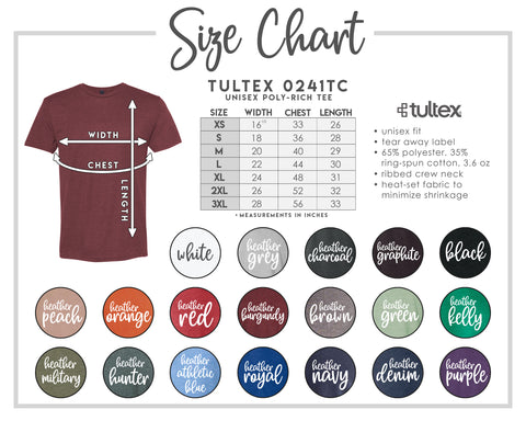 Tultex color/size chart