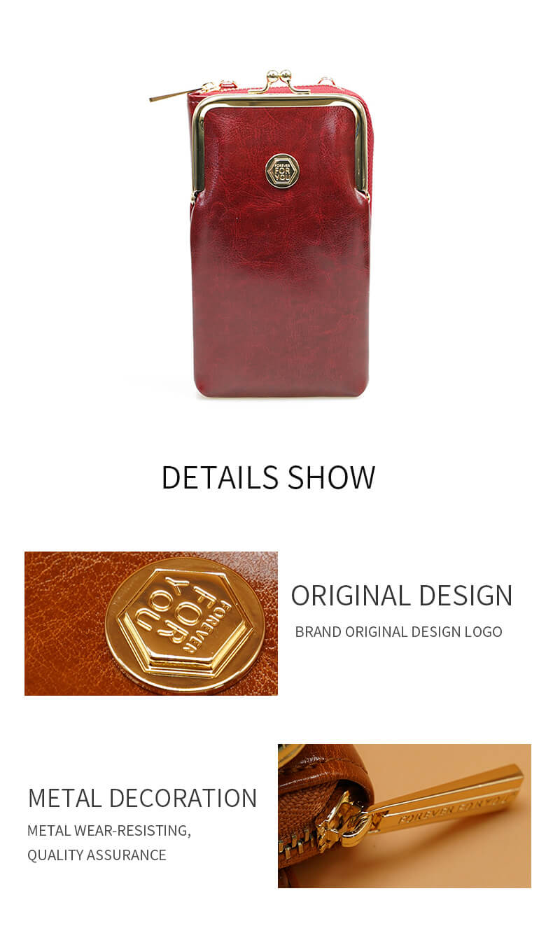 Oil Waxed Kiss-Lock Cross Body Phone Bag wine red details show