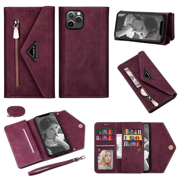 Crossbody iPhone Case Wallet Card Holder wine red