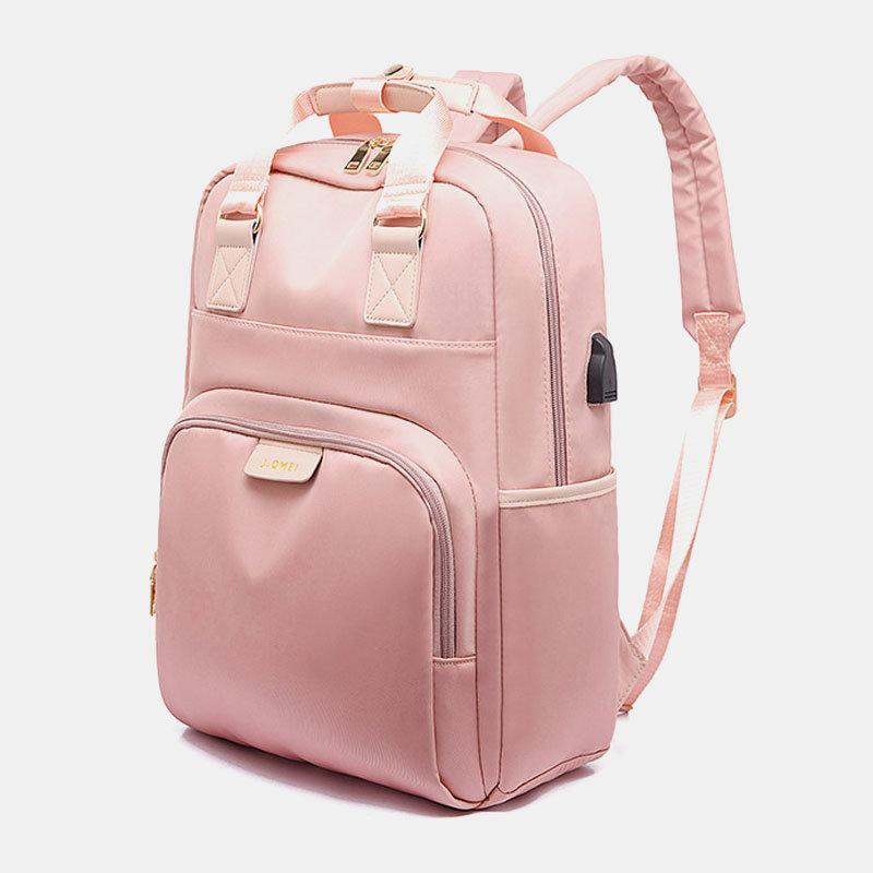 Women's Nylon Waterproof Multifunction Casual Patchwork Backpack