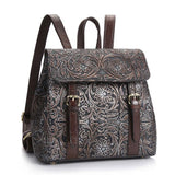 Women's Retro Handmade Real Leather Double Buckle Flower 3D Carved School Backpack