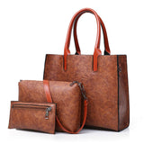 Women's shoulder messenger bag three-piece PU fashion handbags bag sets