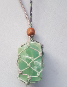 Necklace-Green Calcite Crystal Pouch