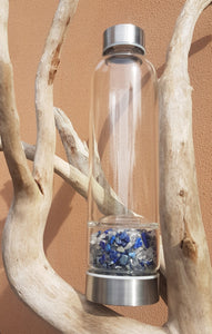 Drink Bottle- Lapis Lazuli & Clear Quartz chips