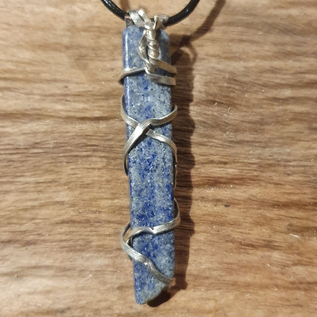 Necklace-wire wrapped Lapis Lazuli