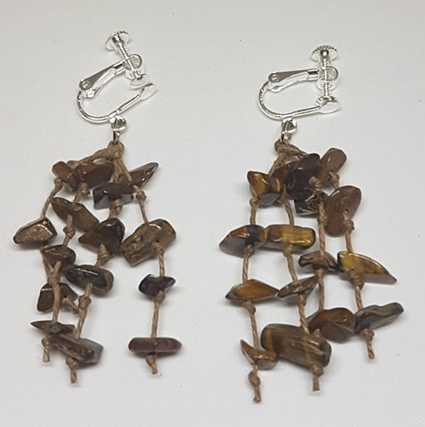 Earrings-Tiger Eye Chip, Drop