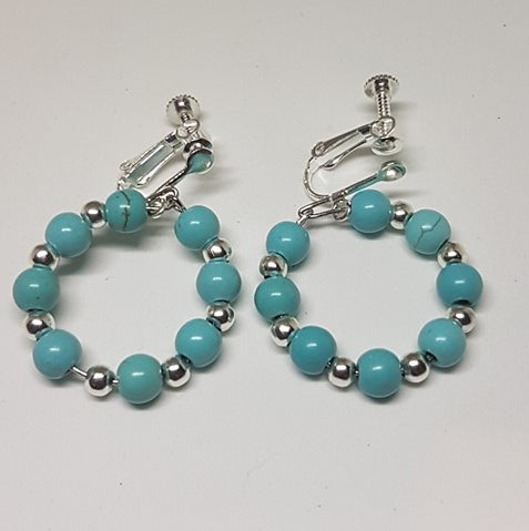 Earrings-Turquoise  Bead Hoop