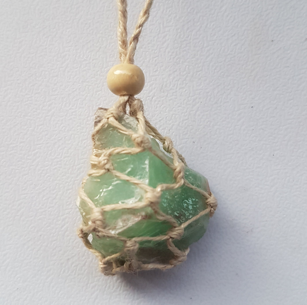 Necklace-Green Calcite-Crystal Pouch