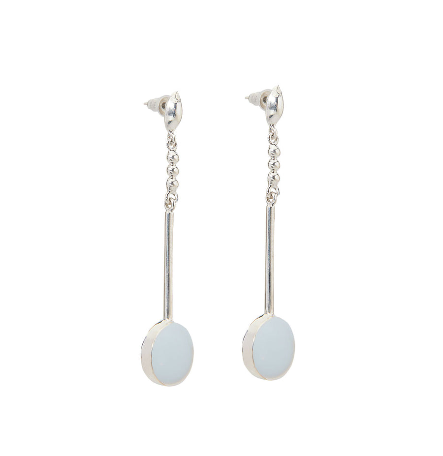 Adriana Earrings - Silver and Arctic Blue