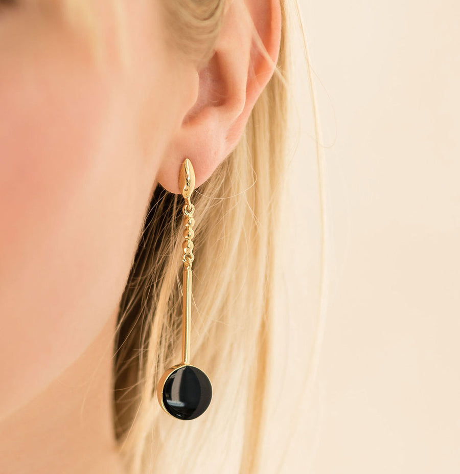 Adriana Earrings - 14K Gold and Onyx