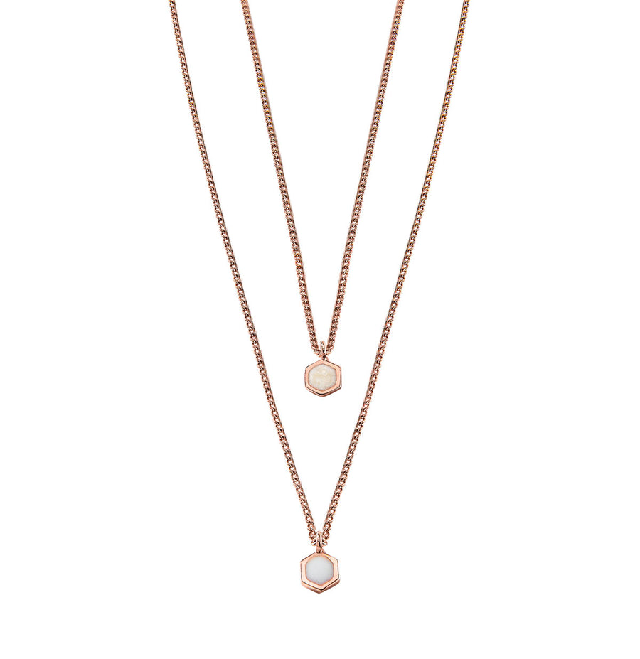 Hexagon Necklace - 14K Rose Gold Pearl Enamel