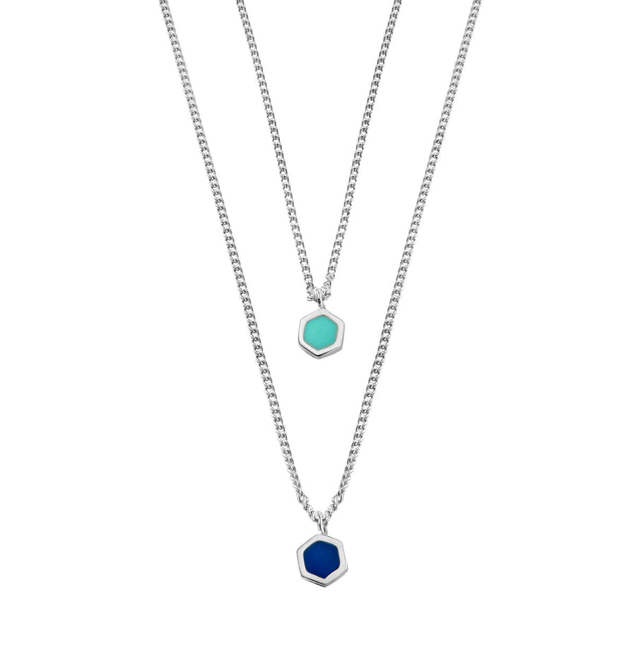 Hexagon Necklace - Rhodium Turquoise and Lapis Enamel