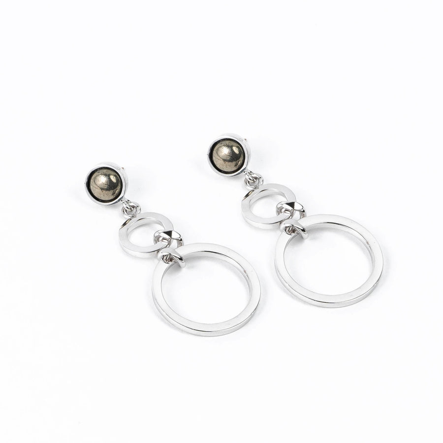 Sirona Earrings - Rhodium Pyrite