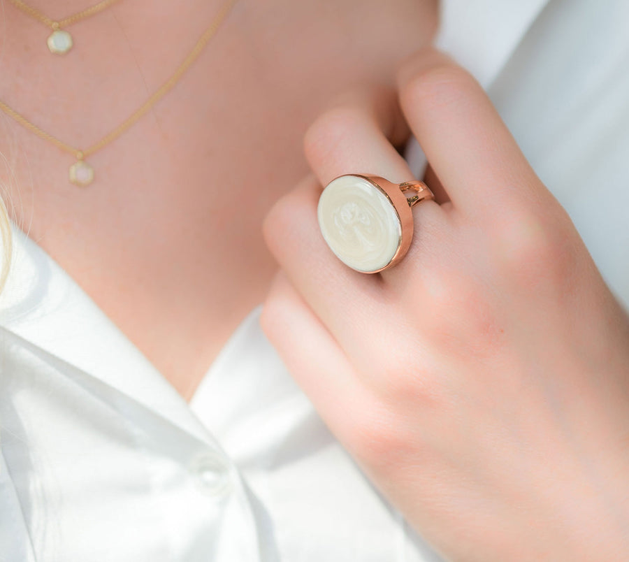 Adriana Ring - 14K Rose Gold & Pearl Enamel