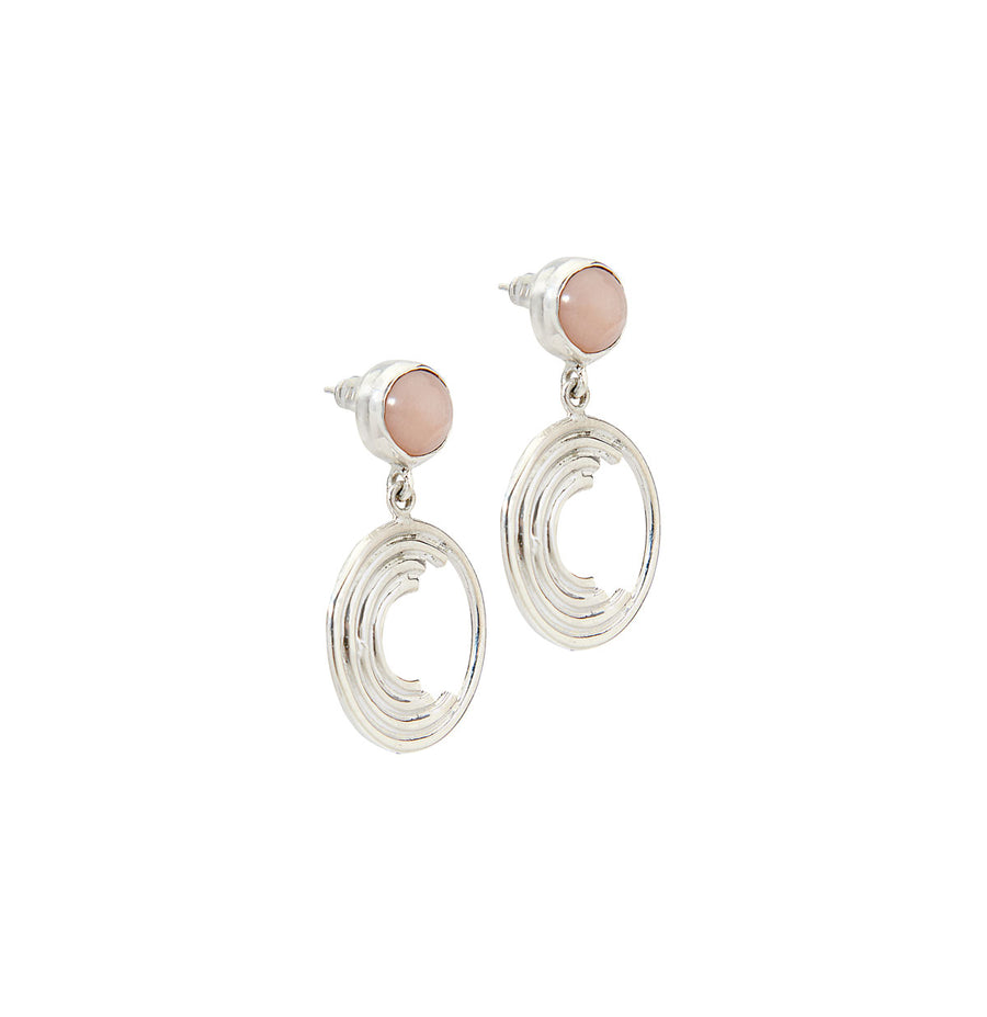Maya Drop Earrings - Silver Peach Moonstone