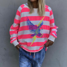Load image into Gallery viewer, RAW HEM PINK STRIPE SWEAT