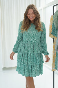 Amanda Dress - Green Flower Print