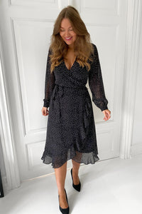 Long Milla Dress - Black/White Dots