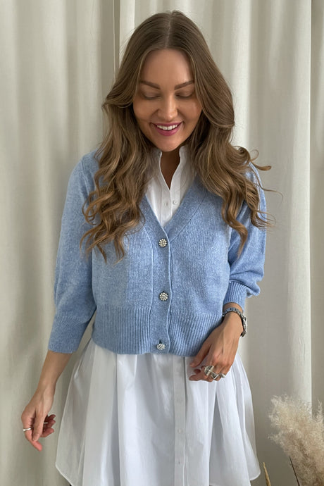 Aida 3/4 Buttons Cardigan - Blue