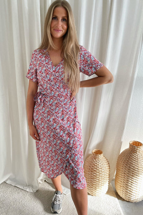 Dinti S/S Wrap Dress - White Flower Print