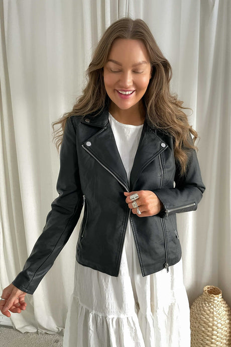 Cara Coated Jacket - Black