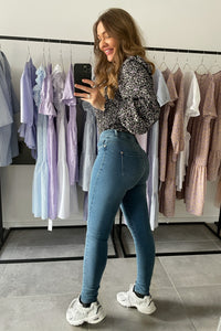 Shape High Waist Jeans (Preorder del. week 9/10) - Medium Blue