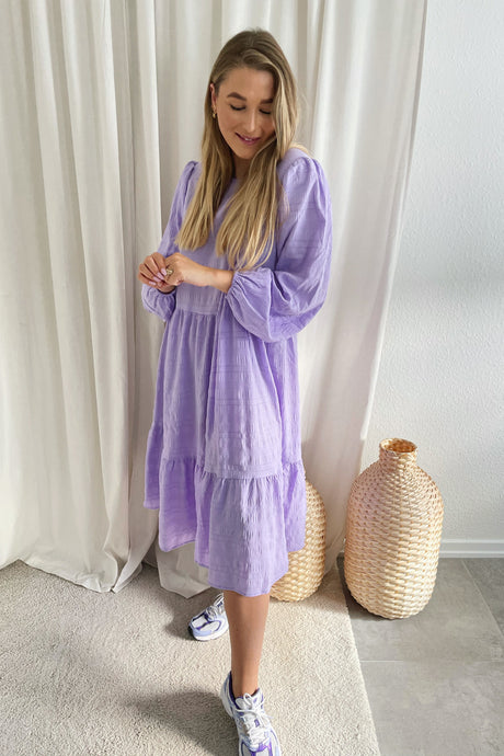 Sully L/S Crincle Midi Dress - Purple