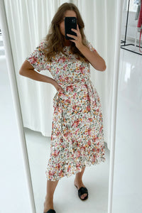 Agnete Dress - White Printed Big Flower