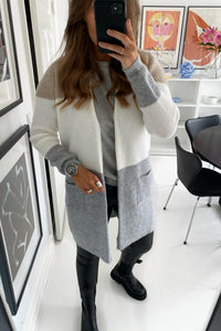 Jade Knit Cardigan - Light Grey Melange Stripe
