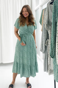 Vera Dress - Flower Print Green