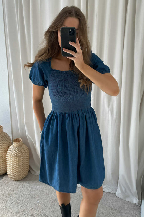 Tayla SS Off Shoulder Dress - Blue