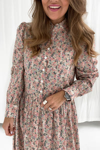Long Thea Dress - Light Pink Print