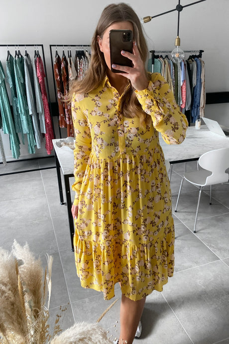 Melinda LS Dress - Yellow Flower