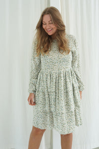 Amanda Dress - Light Green Flower Print