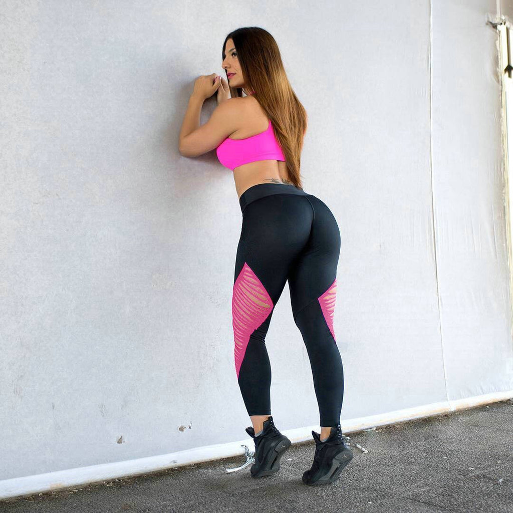 Women  Casual Sports Workout Mesh Hole Fitness High Waist Leotards Athletic Pencil Leggings