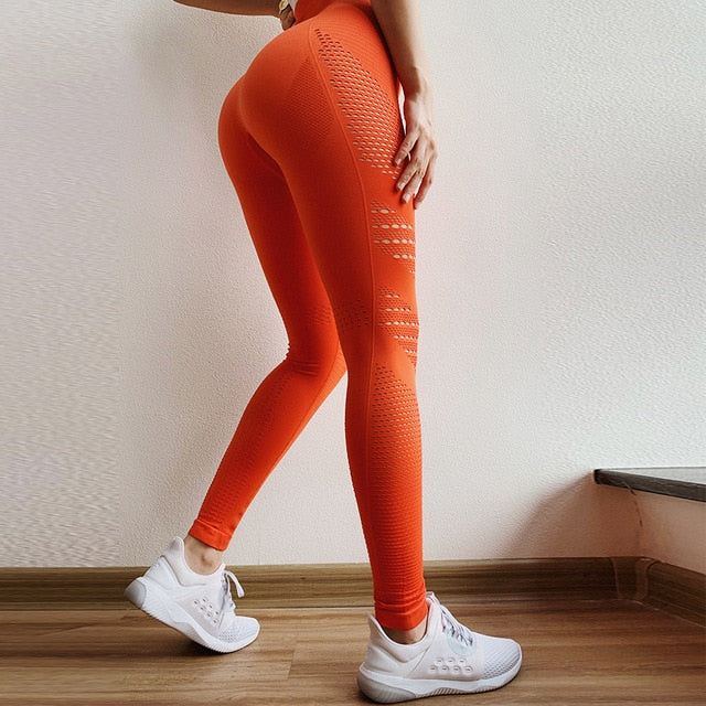 Women Seamless long sleeve High Waist Leggings Shirts Suit Fitness Workout set