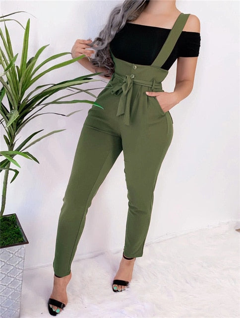 Women  Long  Bandage   Pockets  High Waist Pencil Hips Shoulder Straps pants