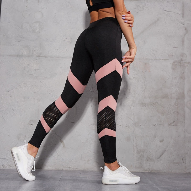 Women  Fashion Mesh Patchwork Hollow Out High Wasit Push Up Leggings