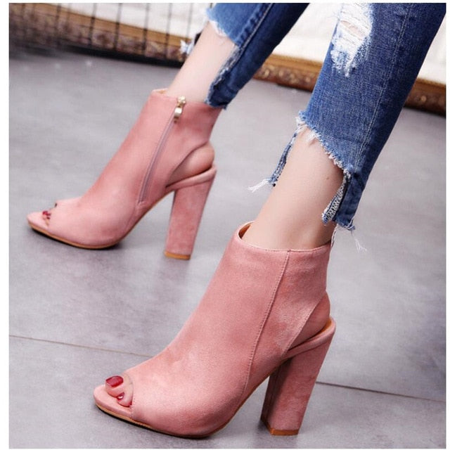 Women Pumps Gladiator High Heels fish mouth zipper Pumps Shoes