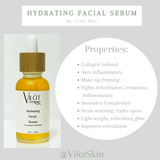 Vilót's Hydrating facial Serum is like a daily multi-vitamin for the skin. The serum is infused in herbs for several weeks, its antioxidant properties and role in promoting collagen production make infusing a crucial part of the blends process. This potent blend and collagen serum helps brighten, heal and firm the skin as it delivers all-day hydration & a radiant Glow.