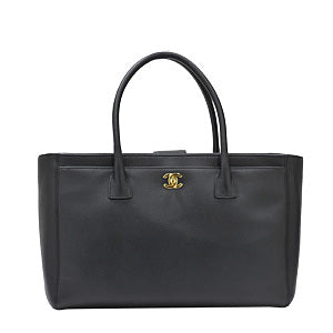 Black Calf Leather Cerf Tote in Goldtone Hardware (Rented Out)