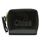 Black Crinkled Shiny Leather Compact Wallet
