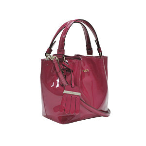 Fuchsia Patent Leather Micro Flower Bag