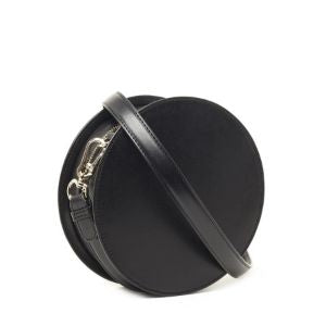 Black K Signature Round Crossbody Bag