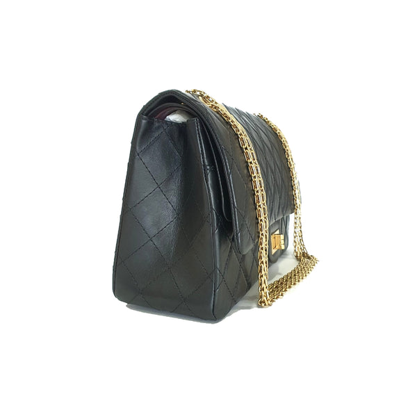Black 2.55 Calfskin Leather Maxi Flap Bag (Rented Out)
