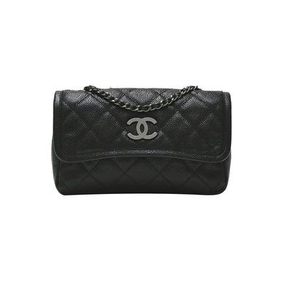 Black Caviar Quilted Mini Flap Bag