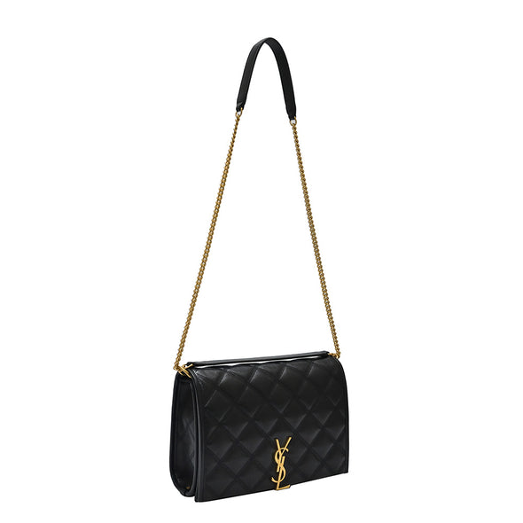 Black Becky Quilted Lambskin Mini Chain Shoulder Bag (Rented Out)